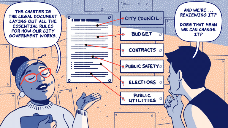 """A cartoon woman with glasses explaining """"the city charter is the legal document laying out all the essential rules for how our city government works."""" In response, a man with his back turned says """"and we're... reviewing it? Does that mean we can change it?"""""""